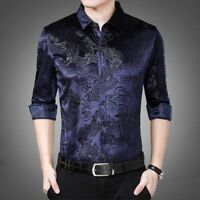 Men Velvet Shirt Casual Long Sleeve Pleuche Top Dragon Business Dress Thick Slim