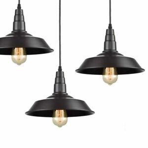 2PK Vintage Pendant Light Dome Metal Shade Barn Warehouse Hanging cord Lamp 36cm