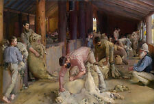 LARGE A3 SiZE QUALITY CANVAS ART PRINT * TOM ROBERTS * Shearing The Rams