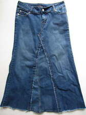 Younique Juniors Sz 9 Long Modest Denim Jean Flared Gored Skirt No Splits Slits