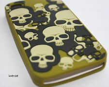 For iPHONE 4 4S - PREMIUM SOFT SILICONE RUBBER TPU SKIN CASE GREEN BLACK SKULLS