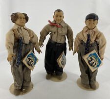 "Three Stooges Hamilton Presents Moe Larry Curly 14"" Dolls w/ Tags & Stands 1988"
