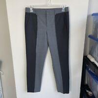 Vince Women's 6 Color Block Skinny Leg Dress Pants Black Grey Mid Rise Wool