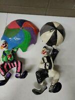 """2 Vintage 12"""" Long Paper Mache Clowns Parachute"""