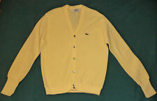 VINTAGE LACOSTE LONG SLEEVE YELLOW BUTTON FRONT V-NECK SWEATER     L  K#8382