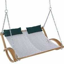 Pawleys Island Hammock Double Curved Arm Oak Classic Rope Swing Cotton