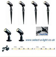 Techmar Garden Spot Lights ALDER (6 SET) Plug & Play 20 Metre Single Leg
