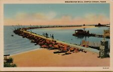 VTG Breakwater Walk Scene in Corpus Christi Texas TX Postcard