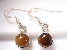 Very Tiny Tiger Eye Earrings 925 Sterling Silver Dangle Corona Sun Jewelry