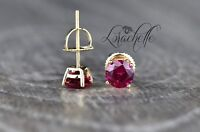 1.0 ct Round Cut Ruby Screw Back Earring Studs 14K Yellow Gold