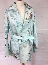 White Edition Women's Reversible Coat Jacket Size 16 Duck Egg Blue Tie Waist Mac