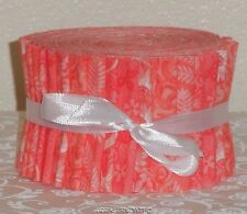 "20~2.5"" Cotton Quilting Fabric Jelly Roll Strips New Coral Peach Tangerine Quilt"