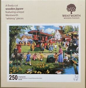 """WENTWORTH """"A Spring Fair"""" 250 piece Wooden JIGSAW PUZZLE Whimsy"""