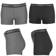 Under Armour Ladies HeatGear Shorty UA Sports Gym Compression Shorts Grey Black