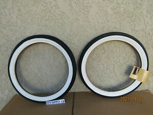 NEW 16'' X 1-3/4'' W/W BICYCLE TIRES, TUBES & LINERS FIT IN SCHWINN BIKES.