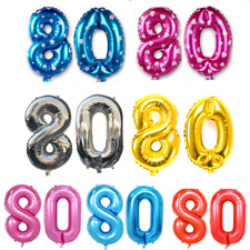 """Giant Foil Number Balloons 40"""" 100cm 80th Helium Birthday Anniversary Decoration"""