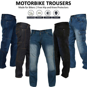 Men's Motorbike Jeans Motorcycle Denim Trousers Aramid Protective Lining Pants