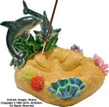 Dolphins Ocean Coral Reef Incense Burner Bong Tobacco Dish Plate Ashtray 2888/87