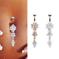 Body Piercing Jewelry Crystal Flower Dangle Navel Belly Button Bar Barbell Rings
