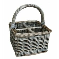 Grey Wicker Cutlery Condiment Basket Hotel Deli Cafe Mini Wine Bottle Holder