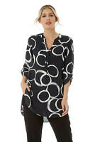 Roman Originals Women's Sketch Circle Print Tunic Sizes 10 - 20