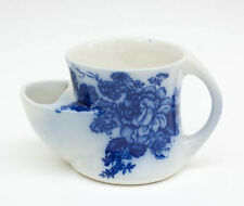 Flow Blue Shaving Cup Floral Pattern Unmarked