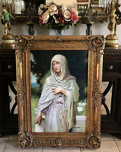 Antique Style Oil Painting Beautiful Portrait of Virgin After Bouguereau Framed