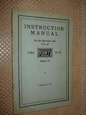 1924 FLINT SIX OPERATORS MANUAL OWNERS GUIDE ORIGINAL GLOVE BOX BOOK MODEL 55
