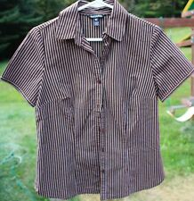 Women's Brown & White Striped Shirt by George; Size: S
