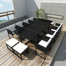 vidaXL Outdoor Dining Set 33 Piece Black Poly Rattan Table and Chairs Stools