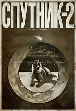Soviet Space Poster Canvas HQ Print 8x10+1'' Border SPUTNIK 2 LAIKA DOG