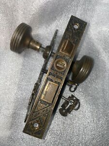 Antique Reading Hardware Mortise Lock & Key Door Knobs Rosettes & Keyhole Covers