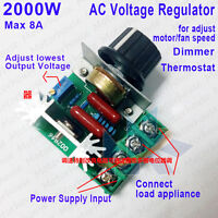 AC 110-220V 2000W SCR Voltage Regulator Speed Control Dimming Dimmers Thermostat
