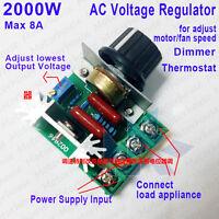 AC 110V-220V 2000W 8A SCR Voltage Regulator Speed Control LED Dimmer Thermostat