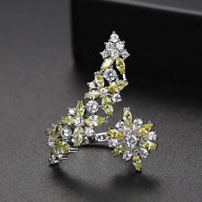 AAA Zircon Crystal Open Ring Flower Adjustable Finger Ring Fashion Jewelry Party