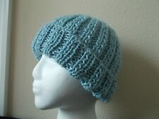 Hand knitted cozy & warm wool & soy blend beanie/hat, light blue (small)