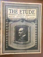 "THE ETUDE PRESSER'S MUSICAL MAGAZINE ""SEPTEMBER 1921"" VINTAGE RARE SHEET MUSIC"