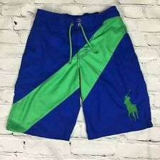 Polo Ralph Lauren Big Pony Swim Trunks Blue Green Striped Size Large 14-16