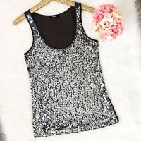 Express Silver Sequin Gray Tank Top Women's Size Small