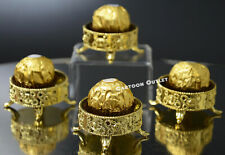 12 GOLD PLASTIC WEDDING FAVOR TRINKET BOX CANDY CONTAINER TABLE DECORATION ORO