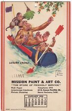 Postcard Advertising Mission Paint Chimps in Canoe Santa Barbara CA 1939 A7
