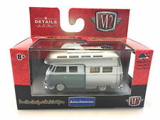 M2 MACHINES 1:64 1959 Silv/Blue Volkswagen VW Double Cab Camper Truck USA Model