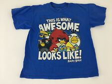 Boys Angry Birds T-Shirt Blue What Awesome Looks Like Graphic Small