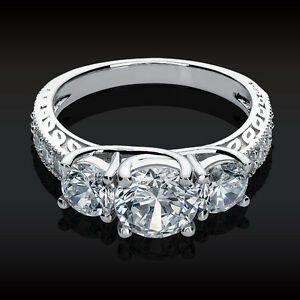 2.61 CT 3 Stone Brilliant Cut Engagement ring Past Present Future 14K White Gold