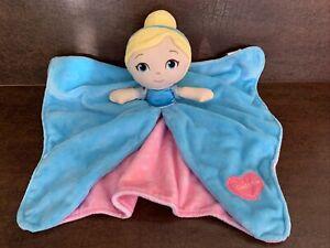 "Disney Baby Cinderella Security Blanket Lovey Doll Princess 13"" x 13"" blue pink"