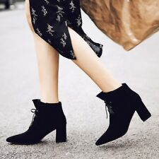 Women Solid Pointed Toe Lace Up Block High Heels Ankle Boots Black Booties Shoes