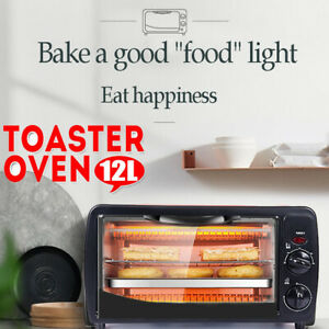 Broil Settings Toaster Oven Toast Natural Convection Bake 1500 Watts of Power Includes Baking Pan And Rack,12L Multi-Function Stainless Steel Finish Mini Baking Oven with Timer