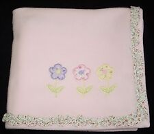 Kidsline Pink Fleece 3 Three Flowers Baby Blanket Floral Ruffle