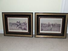 """Antique Pair Framed Prints """"A Day's Hunting"""" T. Blinks, Reverse Painted Frames"""
