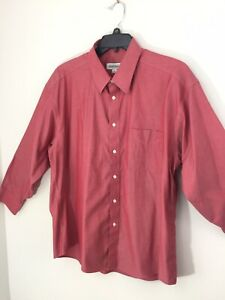 Joseph & Feiss Mens 17 32/33 Button Up Light Cranberry Red Color Dress Shirt New
